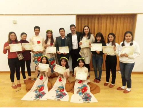 The students received participation certificates