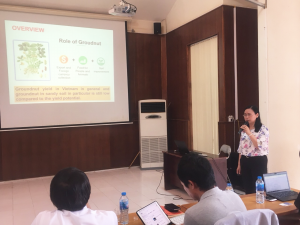 Dr. Nguyen Thu Ha reports the research results on the potential use of microorganisms for groundnut growing on sandy soil in Vietnam