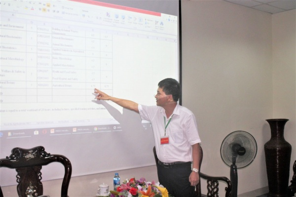 Dr. Nguyen Viet Dang - Director of the Training Management Office explains the credit system of VNUA and Irish universities