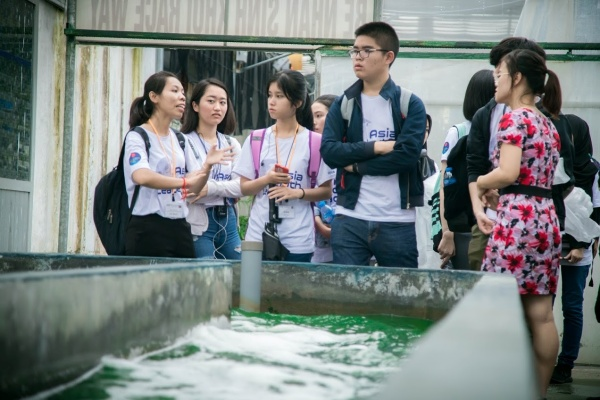 The students visit the Institute of Research and Development of Microalgae